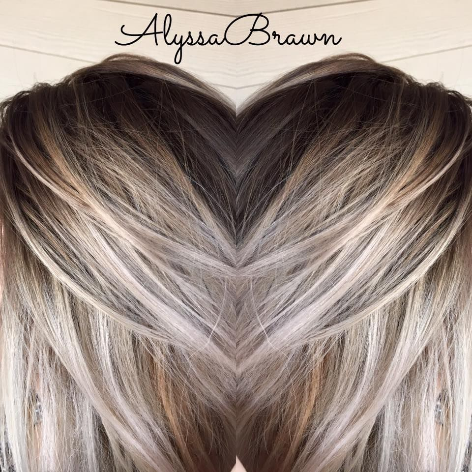 Dark Root Ice Queen Shoulder Length Dark To Light Ombre Balayage Baly Hand Painting Dark To Light Hair Dark Roots Blonde Hair Dark Hair With Highlights