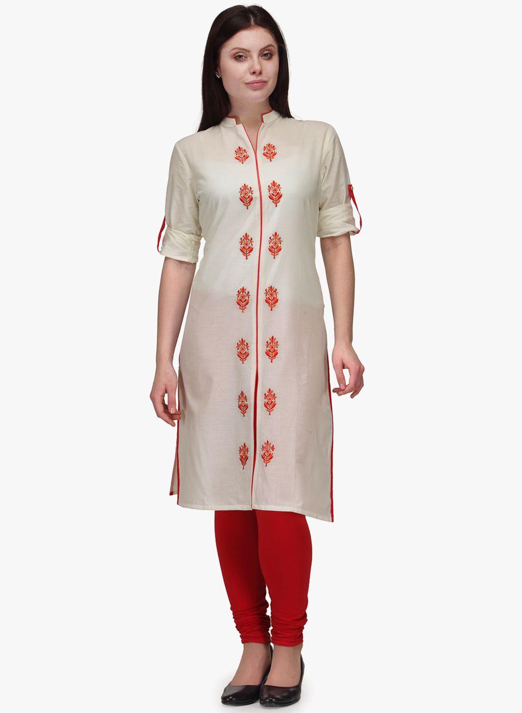 Buy Tulsattva Cream Embroidered Kurta for Women Online India, Best Prices,  Reviews | TU219WA22WIRINDFAS