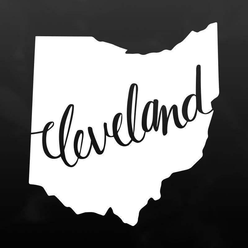 Cleveland Ohio Vinyl Decal Sticker White Vinyl Cleveland And Ohio - Custom vinyl decals cleveland ohio