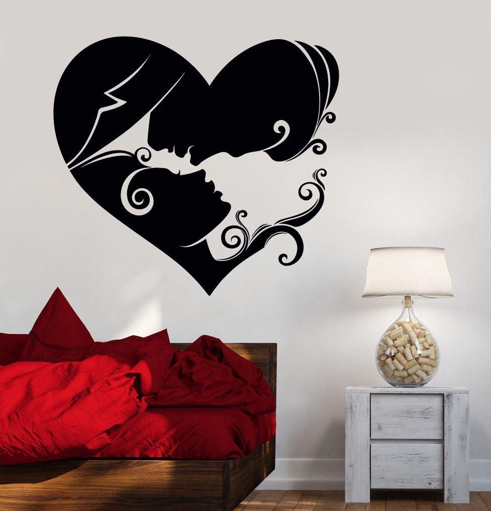 Best Vinyl Wall Decal Heart Loving Couple Bedroom Art Love 640 x 480