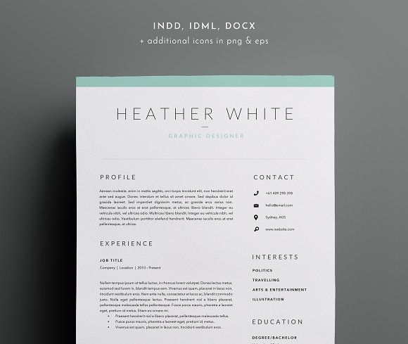 3 Page Resume Template | INDD + DOCX by BlackDotResumes on ...