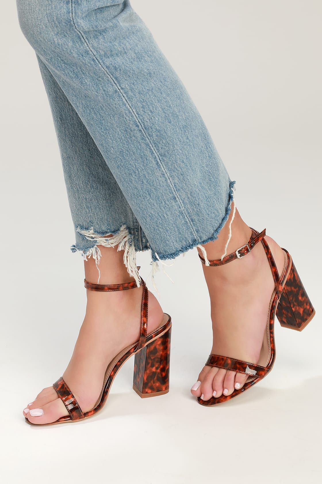 59550f824503 Doheny Tortoise Shell Patent Ankle Strap Heels in 2019 | S. | Ankle ...