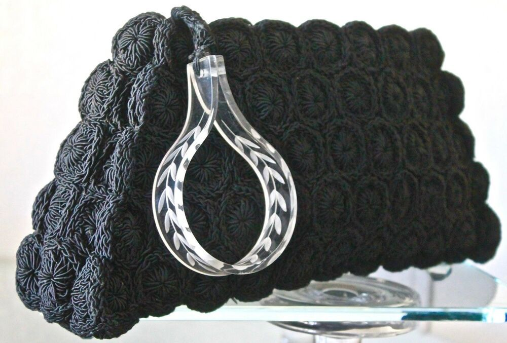Black Crocheted Cording with Carved Lucite Pull Art Deco 1930s Vintage Large Handbag  Clutch