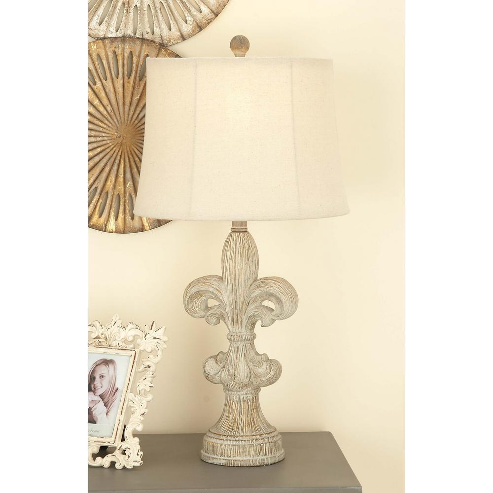 Litton Lane 28 In Classic Elegance White Fleur De Lis Resin Table Lamp 47631 The Home Depot Table Lamp Rustic Table Lamps Table Lamp Sets