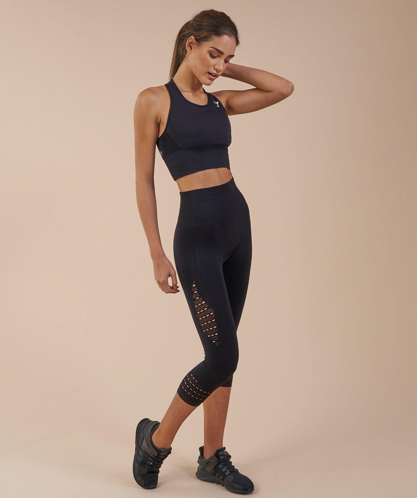 5ec989933d888 Gymshark Seamless Energy High Waisted Cropped Leggings - Black 2