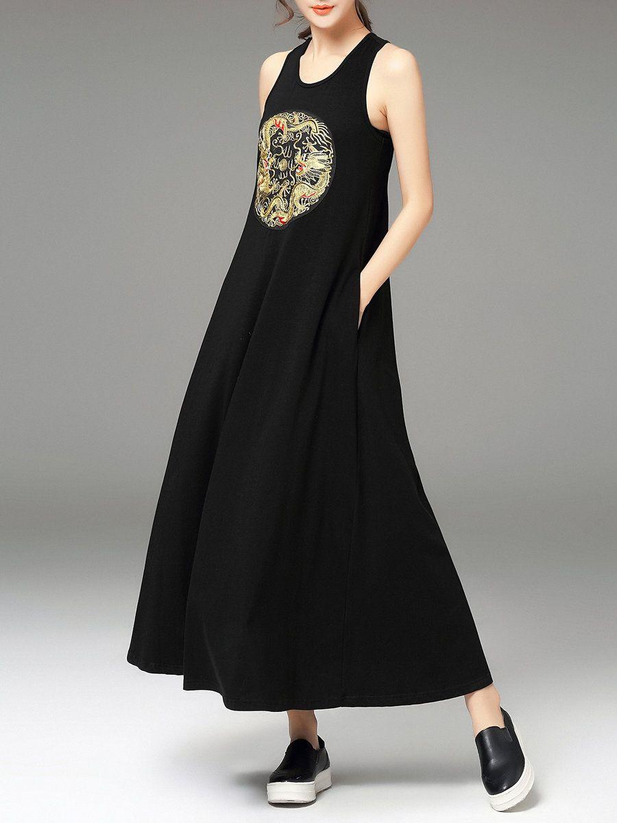 Adorewe stylewe haiping xie black cottonblend sleeveless