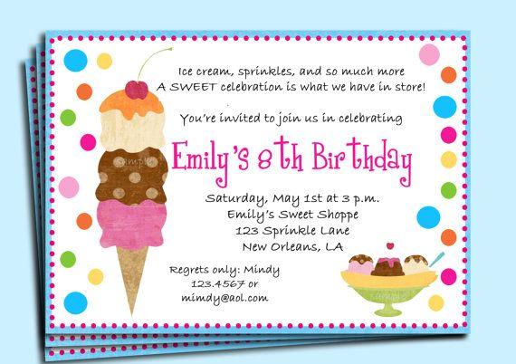 FREE SHIPPING! Ice Cream Themed Birthday Party Invitations