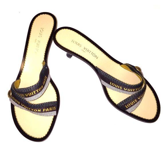95ccbad078d3 Louis Vuitton Canvas Logo Kitten Heel Sandal Louis Vuitton brown canvas  logo kitten heel double strap sandal. Perfect condition. Size 9.5 Louis  Vuitton ...