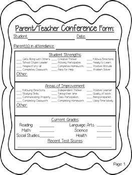 Superb Parent/Teacher Conference Forms