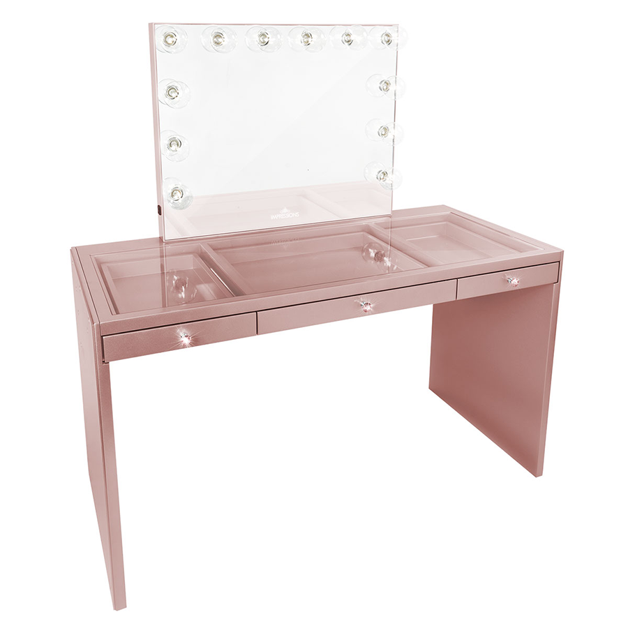 clear makeup vanity table. Impressions Vanity SlayStation Plus Table Rose Gold Clear Premium  Vanities tables