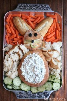Bunny Bread: Your family will be so impressed by this fun, festive bunny bread and dipping platter. Click through to discover more easy and unique Easter dinner ideas that all families will love.