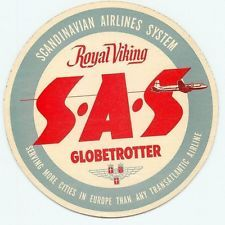 SAS SCANDINAVIAN AIRLINES SYSTEM ROYAL VIKING VINTAGE LUGGAGE LABEL STICKER