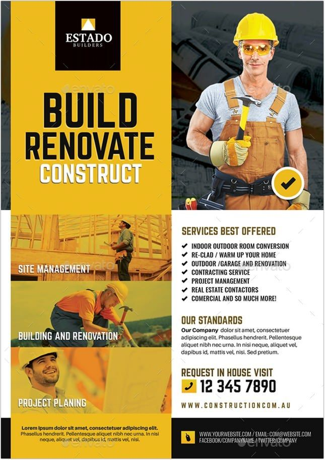 20+ Eye-Catching Contractor Flyer Templates & Designs 2018 ...