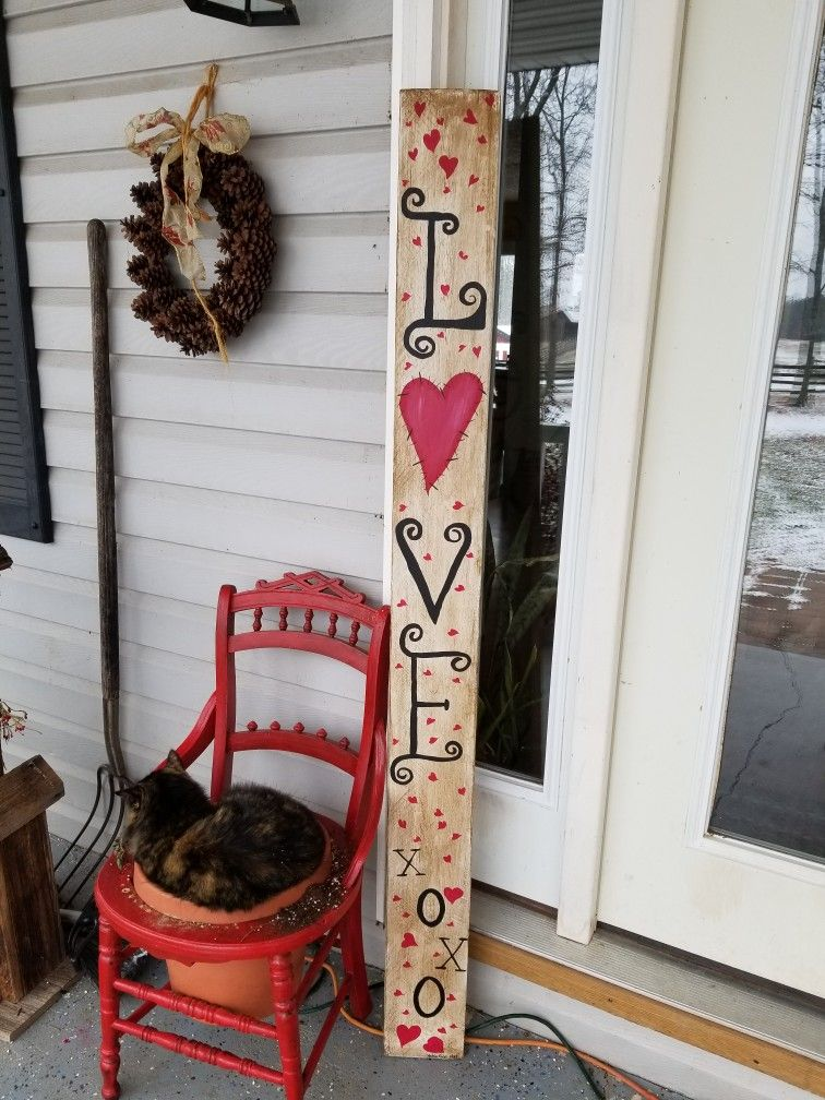 Love Valentine S Day Fence Board Sign Painted Using Rustoleum