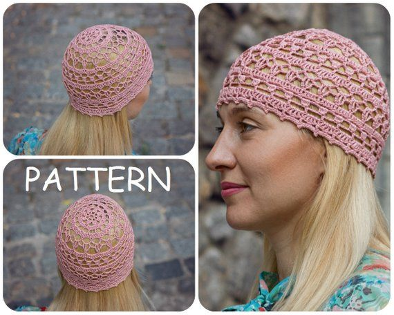 73f37102e4f Crochet Pattern Hat For Summer - Women s Crochet Lace Beanie Hat Pattern -  Crochet DIY Woman s Hat