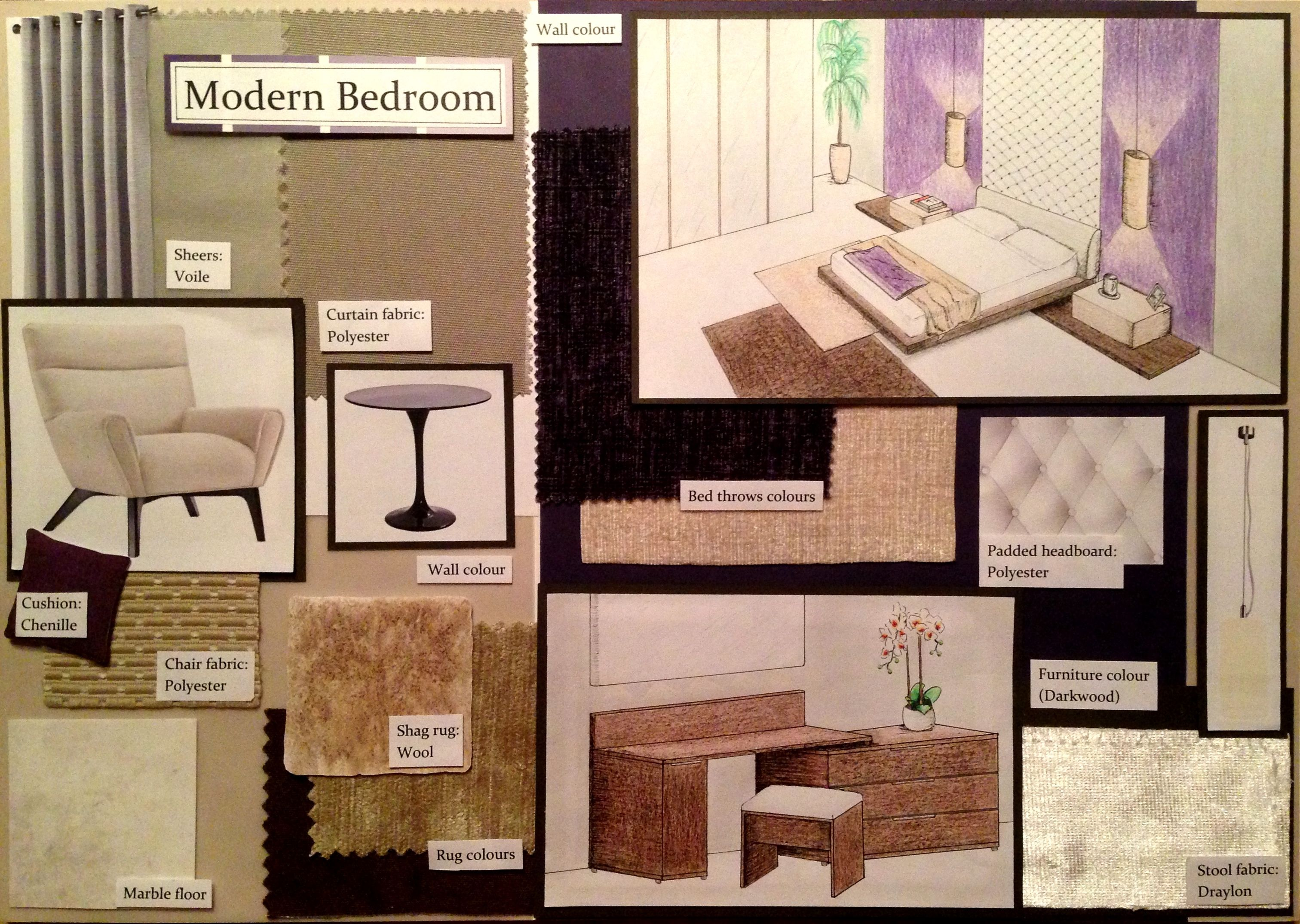 My Sample Board Of A Modern Purple Bedroom.