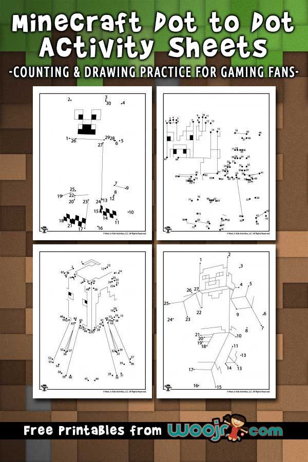 Minecraft Dot to Dots Activity Sheets | Woo! Jr. Kids Activities