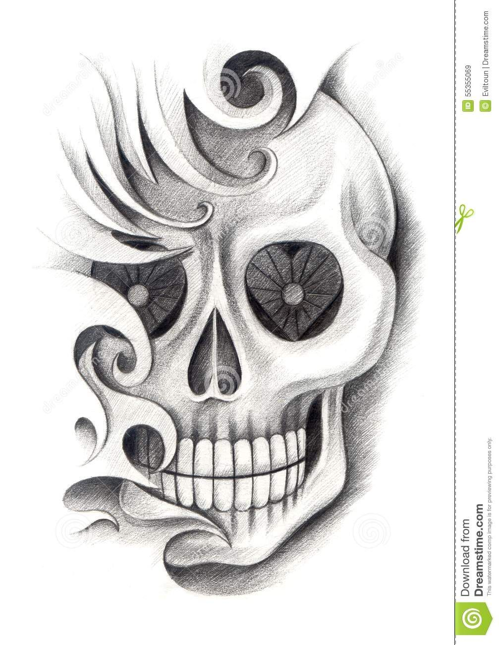 Skull art tattoo design head mix tribal hand pencil for Drawing tattoos on paper
