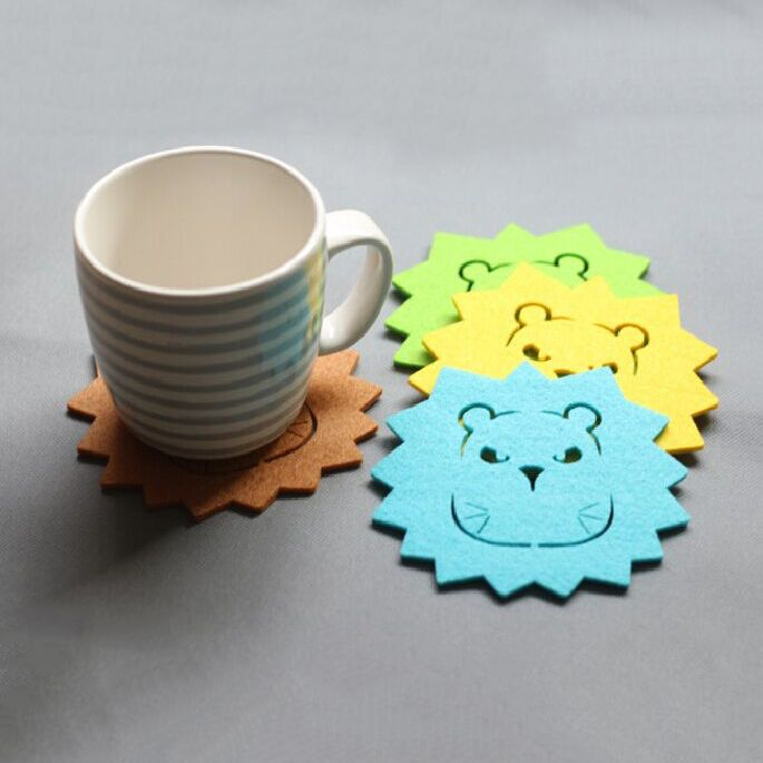 lion shape wool felt coaster. Lovely lion shape and different colors to decorate your table and insulate heat.