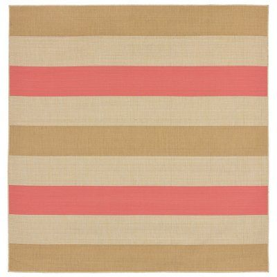 "Beachcrest Home Larana Stripe Beige/Pink Indoor/Outdoor Area Rug Rug Size: Square 7'10"""