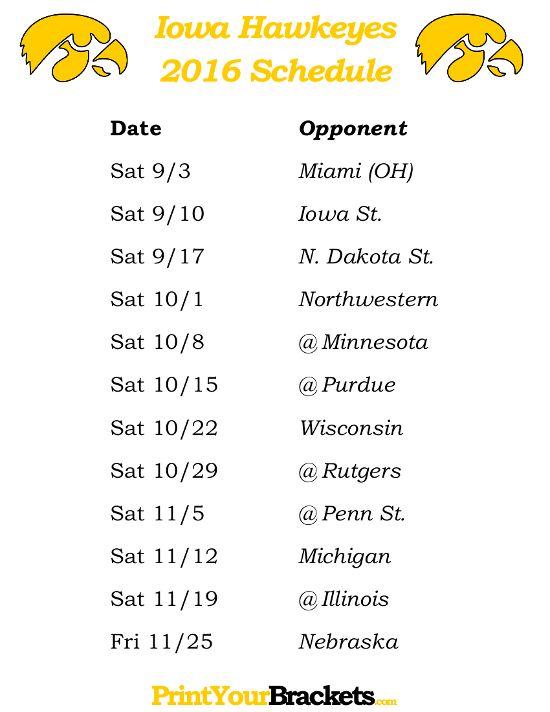 Printable Iowa Hawkeyes Football Schedule 2016 I Bleed