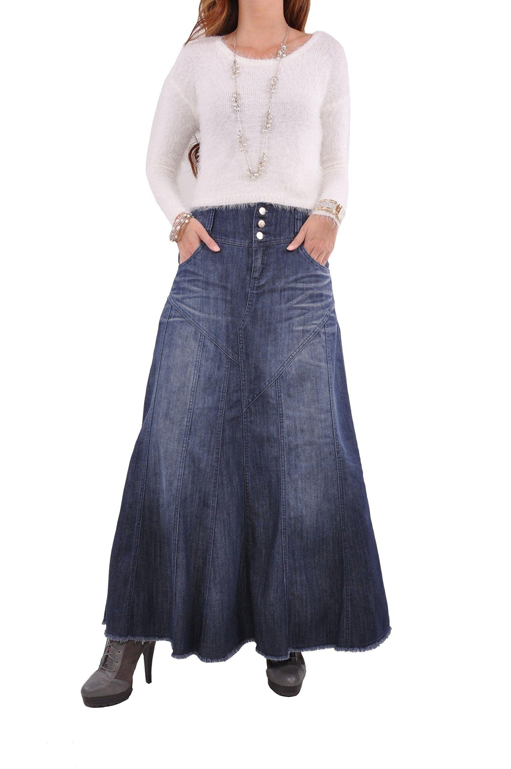 aad249097 Style J Gorgeous Flares Long Denim Skirt-Blue-26(6) at Amazon Women's  Clothing store:
