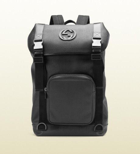 8ca7c60aedca Men s Black Gg Supreme Canvas Interlocking G Backpack