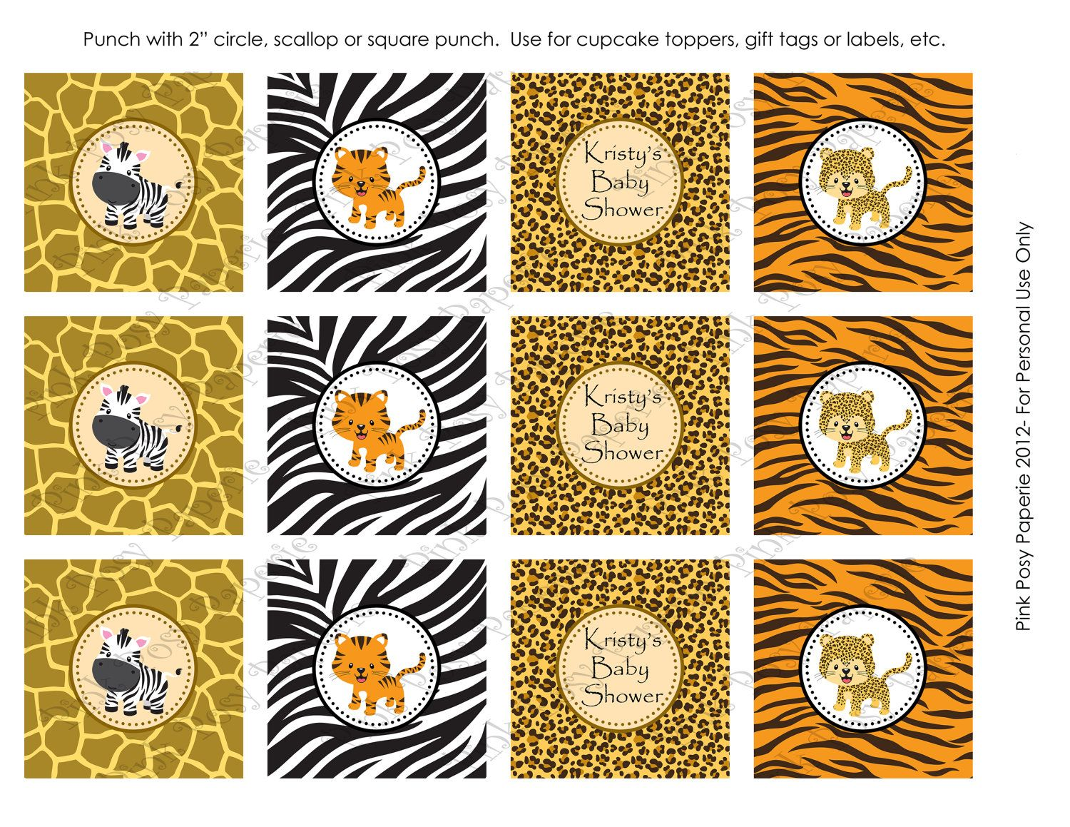 Printable Safari Jungle Animal Baby Shower Cupcake Toppers