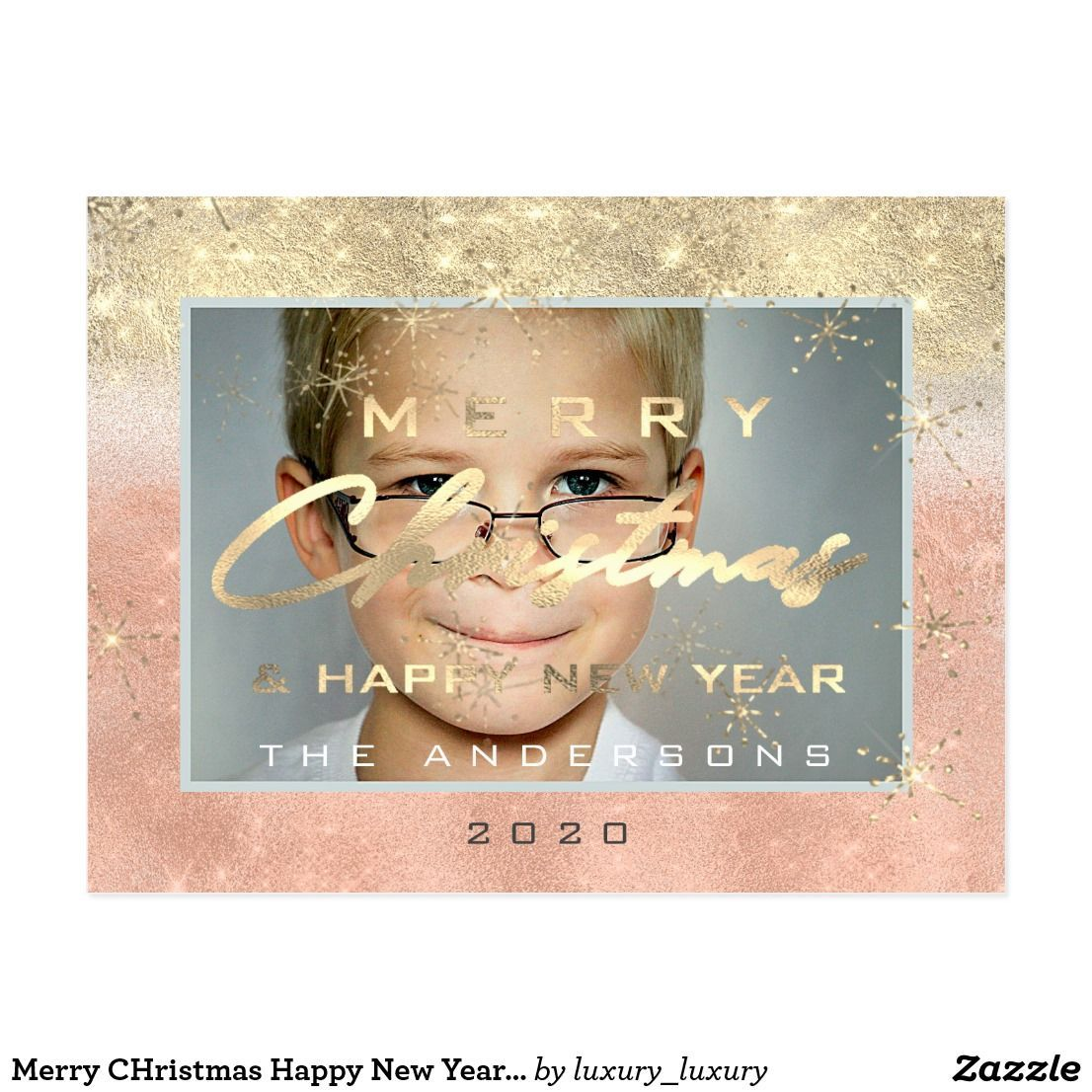Merry CHristmas Happy New Year Gold Photo Glitter Postcard