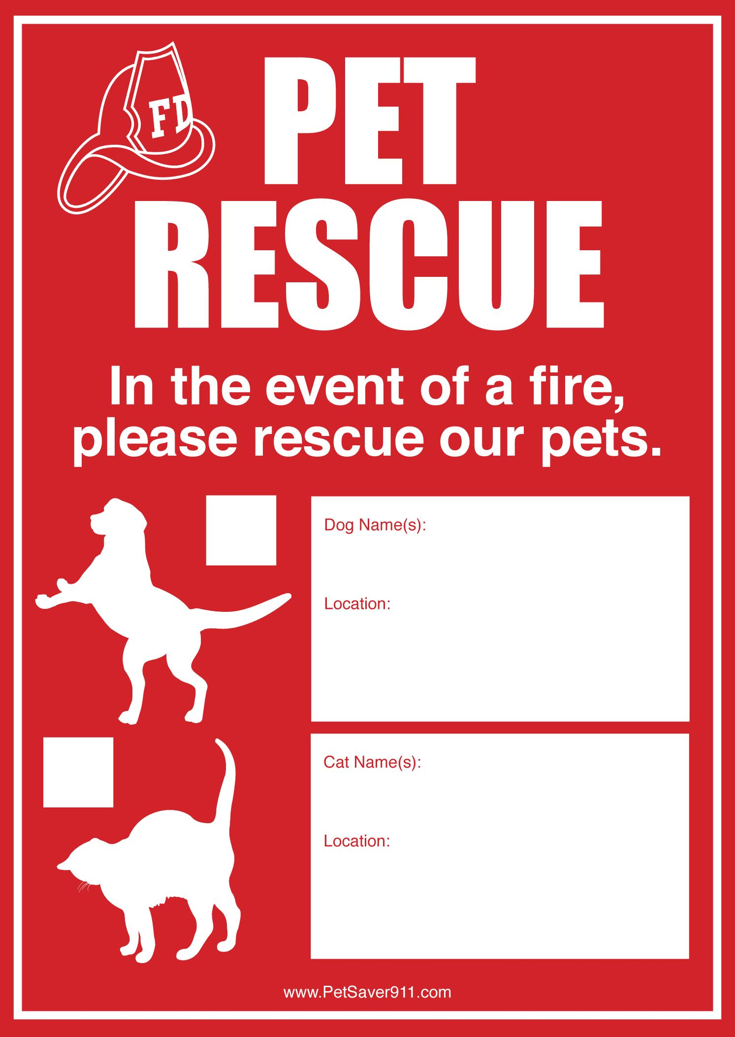 Help firefighters locate and rescue your pets when you're