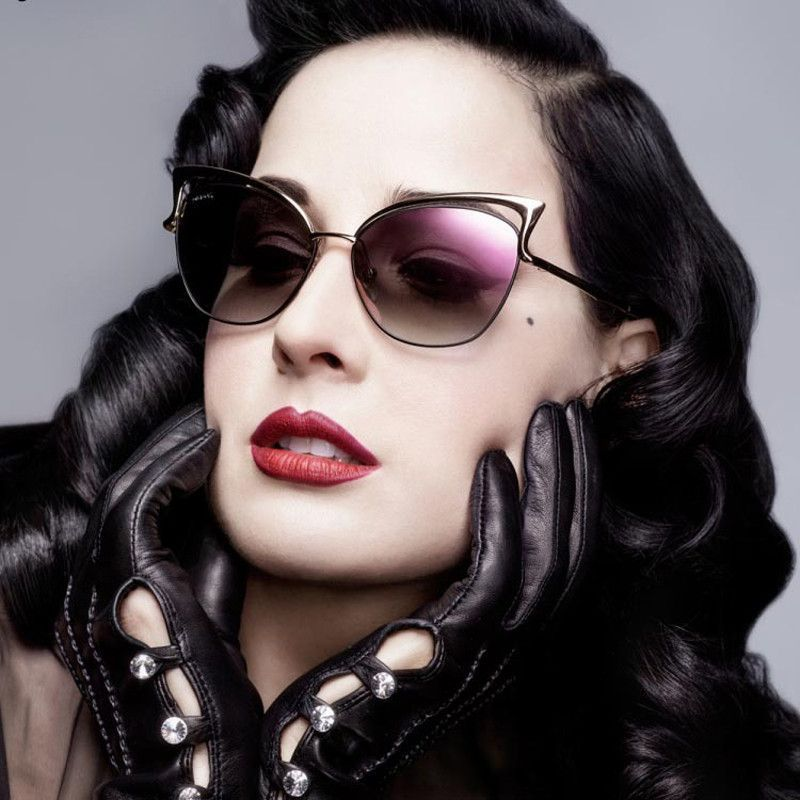2d1757feb05 New Metal Frame Dita Sexy Cat Eye Sunglasses for Women Coating Brand  vintage sun glasses female Eyewear Type  Sunglasses Item Type  Eyewear  Department Name  ...