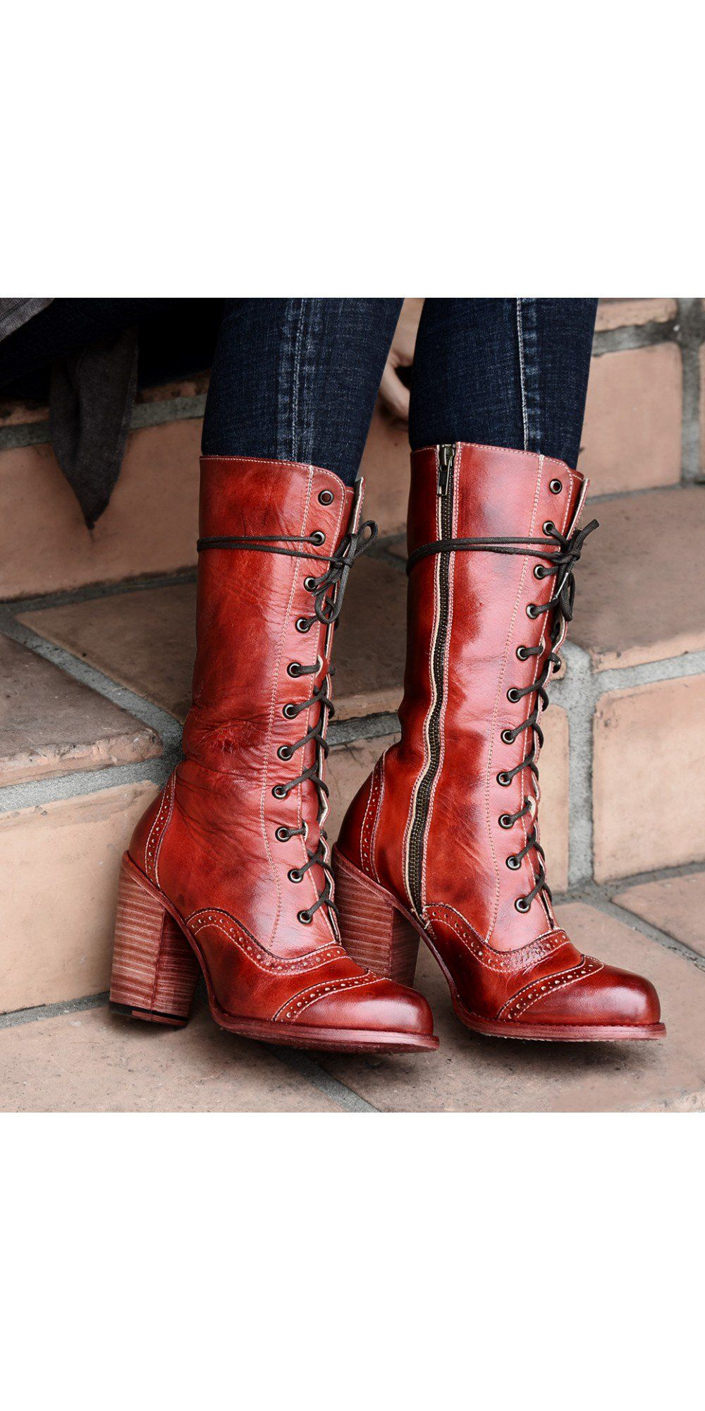 52935585f788 Ariana Victorian Inspired Mid-Calf Leather Boots in Red Rustic by Oak Tree  Farms