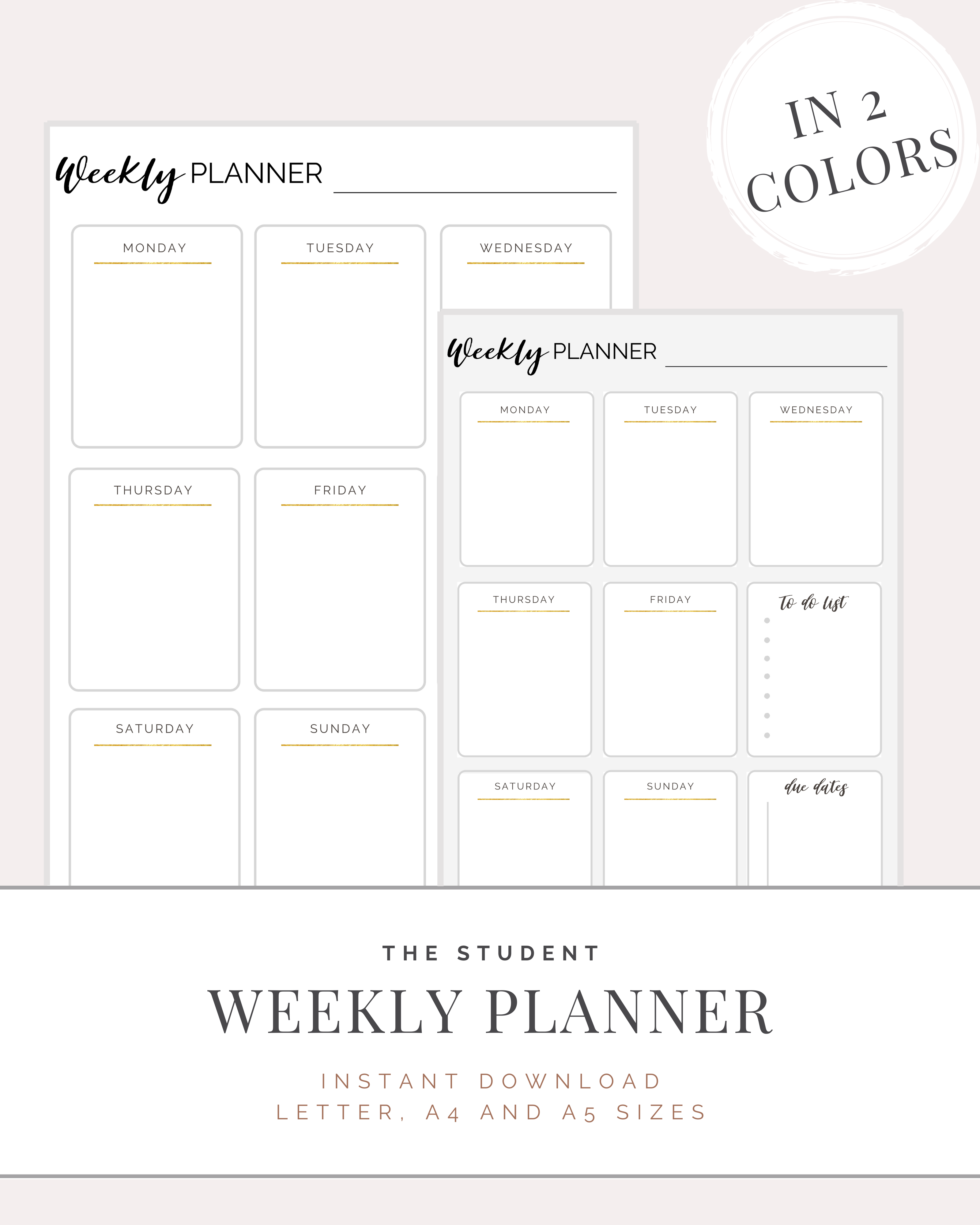 Weekly Planner For Students Digital Download Letter A4
