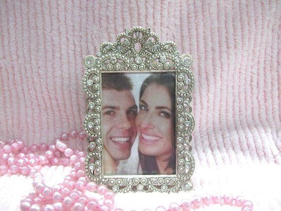 Silver Crystal Rhinestones Filigree Photo Frame VERY Ornate Chic ...