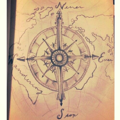 With an outline of the world inside itd be really cool tattoos never ever stop wandering world map compass original quote travel wanderlust gumiabroncs Image collections