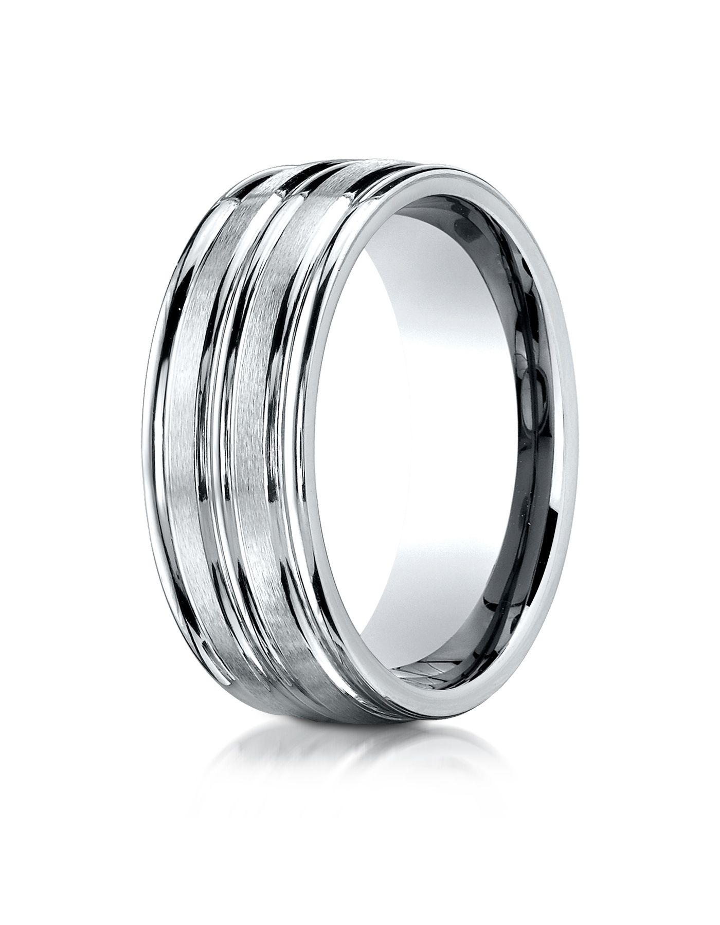 Aetonal Mens Cobalt Chrome 8mm Comfort Fit Satin Polished Center Round Edge Wedding Band Ring