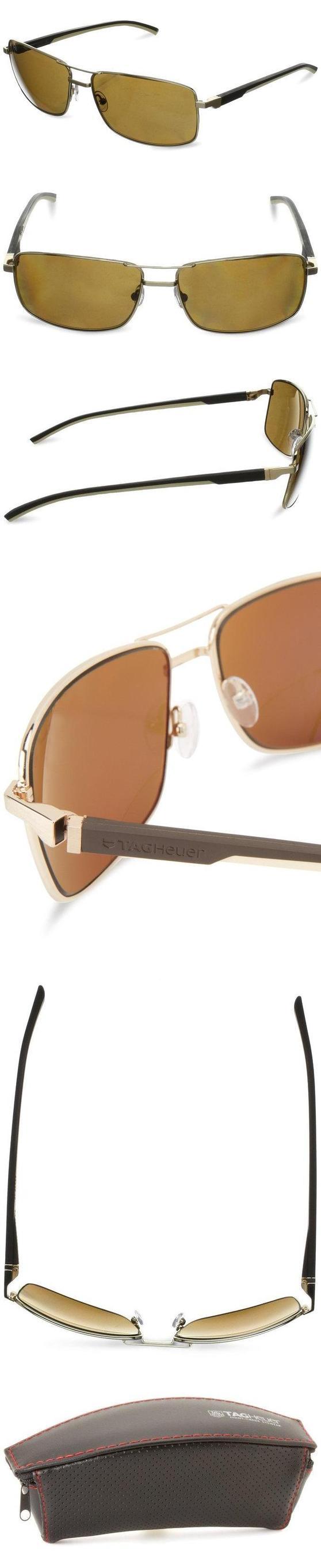 $515 - Tag Heuer Automatic 883 214 Polarized Rectangular Sunglasses,Gold,62 mm #apparel #eyewear #tagheuer #sunglasses #shops #women #departments #men