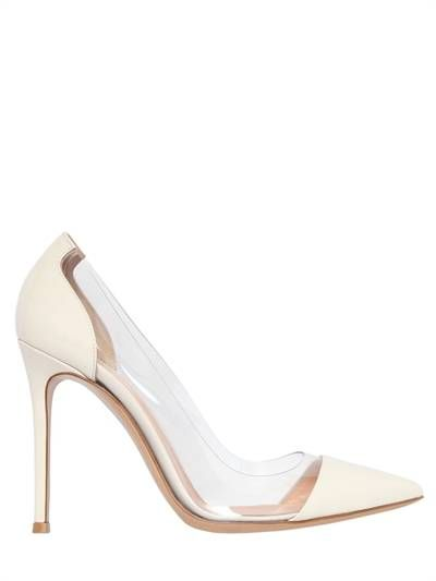 Gianvito Rossi Off-White Patent & PVC Plexi Heels discount limited edition evFCry