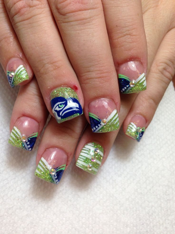 Super Bowl Inspired Nail Art - Super Bowl Inspired Nail Art Seahawks Nails, Seahawks And Nails