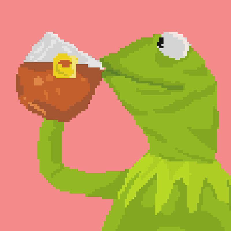 Kermit The Frog Tea Pixel Art Sticker Sticker By Sdotj
