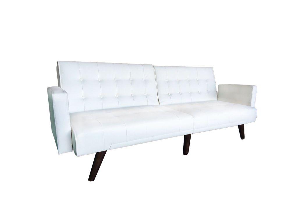 Modern Splitback White Bonded Leather Sleeper Futon Tufted Sofa W Armrest
