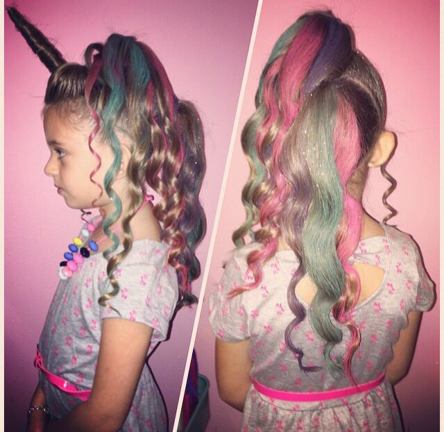 Unicorn Horn Curls Hair Color Glitter For Crazy Hair Day Wacky Hair Days Crazy Hair Wacky Hair