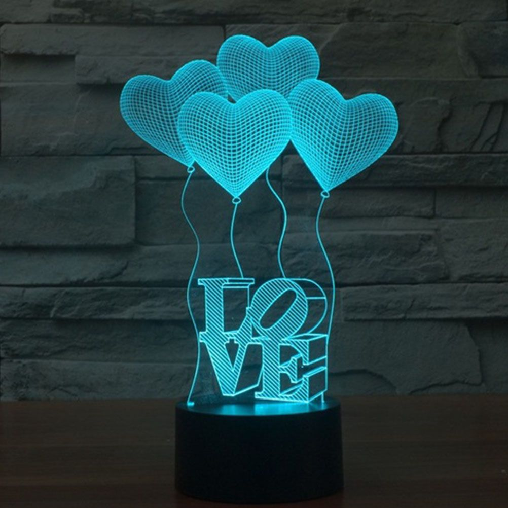 Creative 3d Illusion Lamp Led Night Lights 3d Love Heart Acrylic Discoloration Colorful Atmosphere Lamp Novelty Lightin 3d Illusion Lamp 3d Led Lamp Touch Lamp