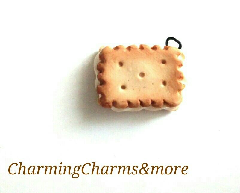 Cute biscuit with cream polymer clay charm