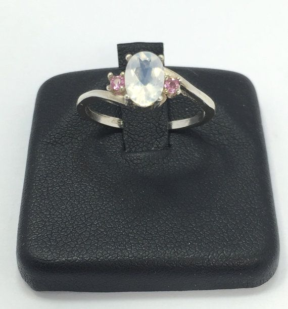 This is a Blue Moon Quartz and Pink Sapphire Multistone Ring  A beautiful .925 Sterling silver Blue Moon Quartz ring with Pink Sapphire accent