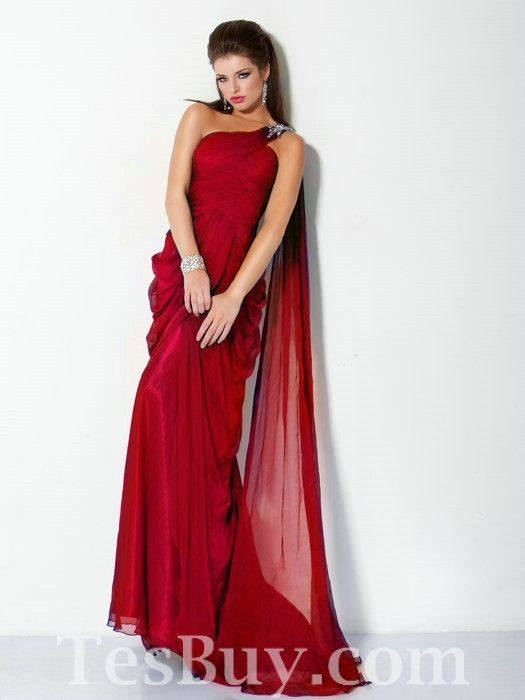 Ruched Chiffon One Shoulder Floor Length Red Pageant Dress,Pageant ...