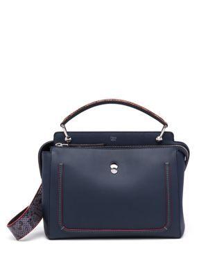 FENDI Dotcom Leather & Snakeskin Satchel. #fendi #bags #leather #hand bags #satchel #