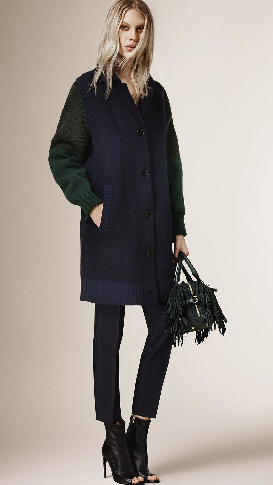 1df16a8e5bd6 Buy Burberry Women s Blue Knitted Cardigan Coat With Contrast Sleeves