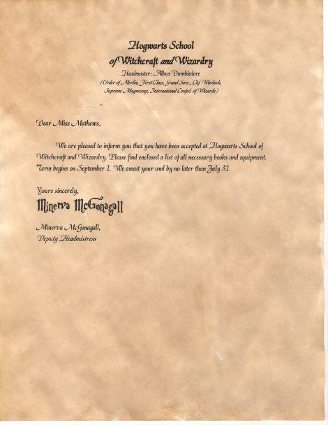 DIY Hogwarts Acceptance Letters – Hogwarts Acceptance Letter