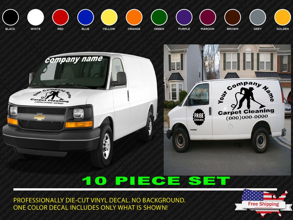 Huge 10 piece carpet cleaning or custom business decals custom van truck